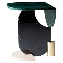 Dodga Marble Side Table, Contemporary Geometric Marble Side Table