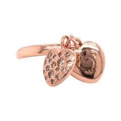 Dodo Pomellato Pave Heart Charms Ring in 9k Rose Gold