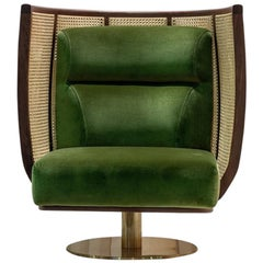 Doeg Rattan Swivel Chair, Contemporary High Back Lounge Chair