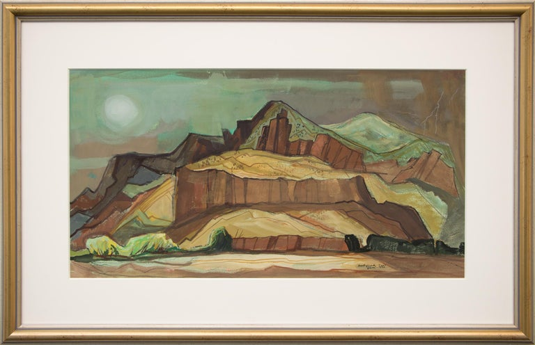 "Original vintage painting by New Mexico/Oklahoma modernist, Doel Reed (1894-1985), ""Spring Storm"" depicts a rocky western landscape and is dated, June 1980 and signed by the artist lower right.   Presented in a custom frame, outer dimensions measure"