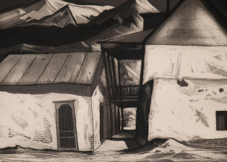 Old House at Questa (New Mexico) original signed framed mid-century 1950s aquatint by modernist artist, Doel Reed (1894-1985).  Black and white image of adobe buildings with a mountain landscape in the background, signed by the artist lower right
