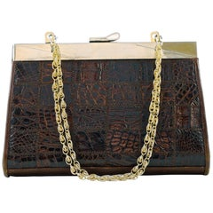 Dofan Paris Mid Brown Alligator Leather Handbag Chain Handle Gold Plated Frame