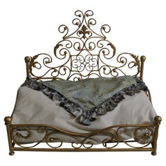 Dog Bed, Gilt Wrought Iron