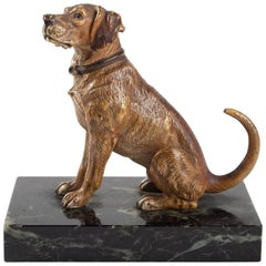 Dog, Bronze Vienna, Base Marble, Early 20th Century, Bronze Animal