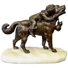 Dog & Child, Bronze by Joseph Francois Victor Chemin
