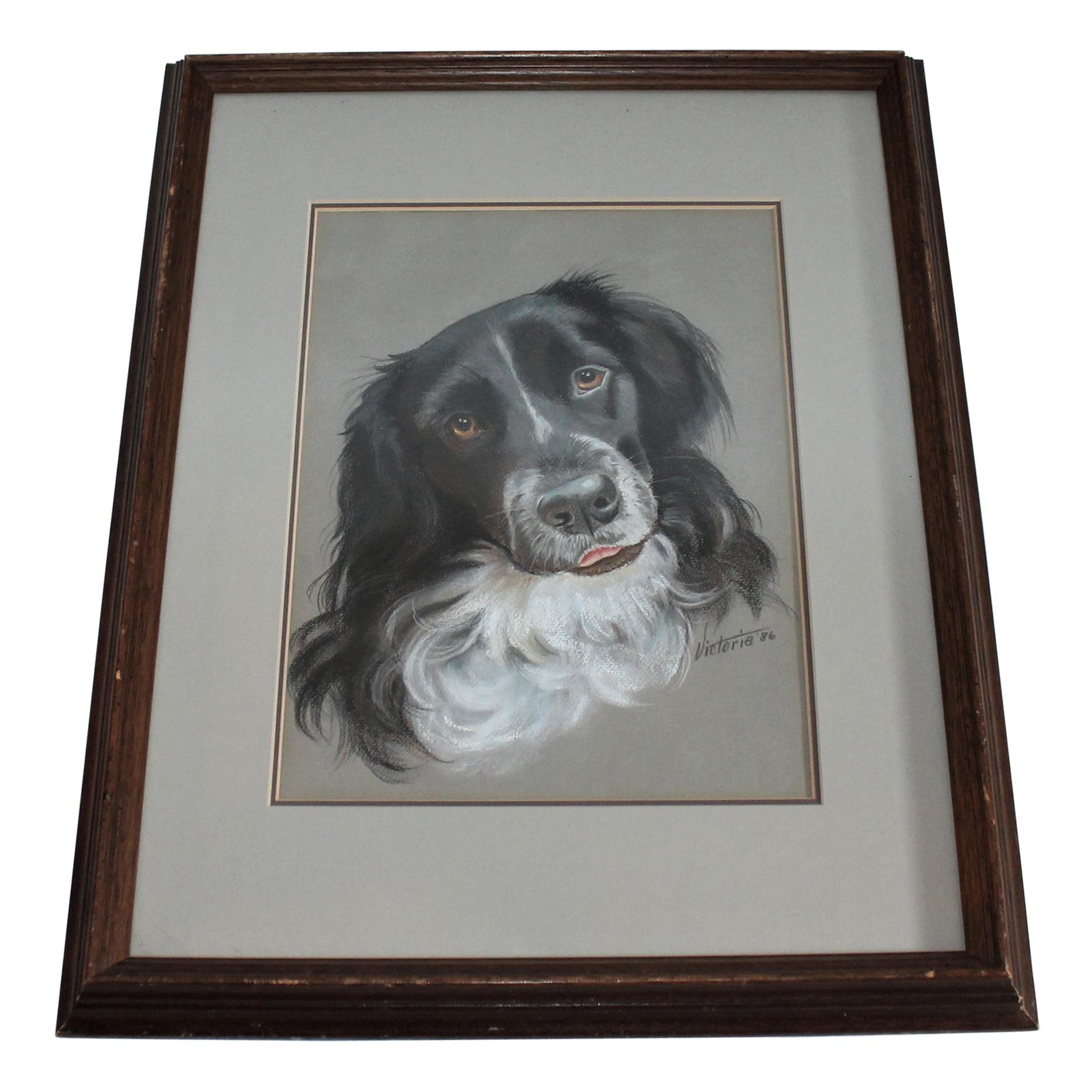 Dog Oil & Watercolor Signed Victoria 1986
