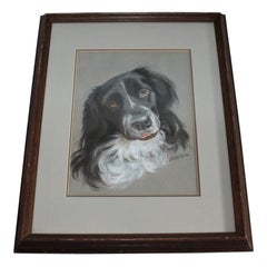 Dog Oil & Watercolor Signed Victoria 1986