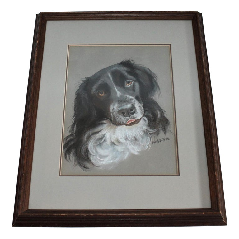 Dog Oil & Watercolor Signed Victoria 1986 For Sale