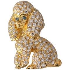 Dog Poodle Custom Brooch 18 Karat Gold and Diamond 2+ Carat Diamonds