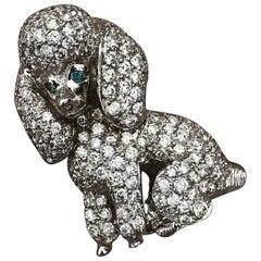 Dog Poodle Custom Brooch 18k Gold and Diamond 2+ Carat Diamonds - Ben Dannie
