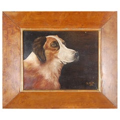 Dog Portrait Oil on Canvas by Charles Clair, 1914