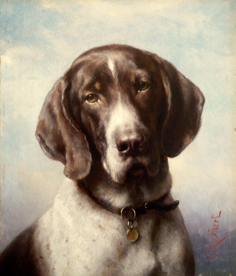 Dog Portrait, Oil on Panel by Carl Reichert of a German Shorthaired Pointer For Sale 3