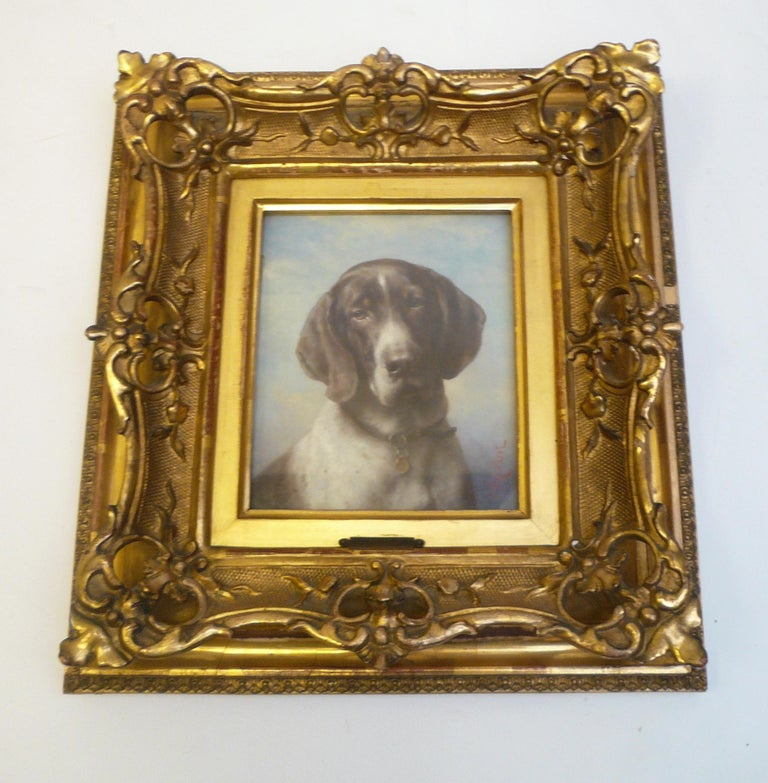 Victorian Dog Portrait, Oil on Panel by Carl Reichert of a German Shorthaired Pointer For Sale