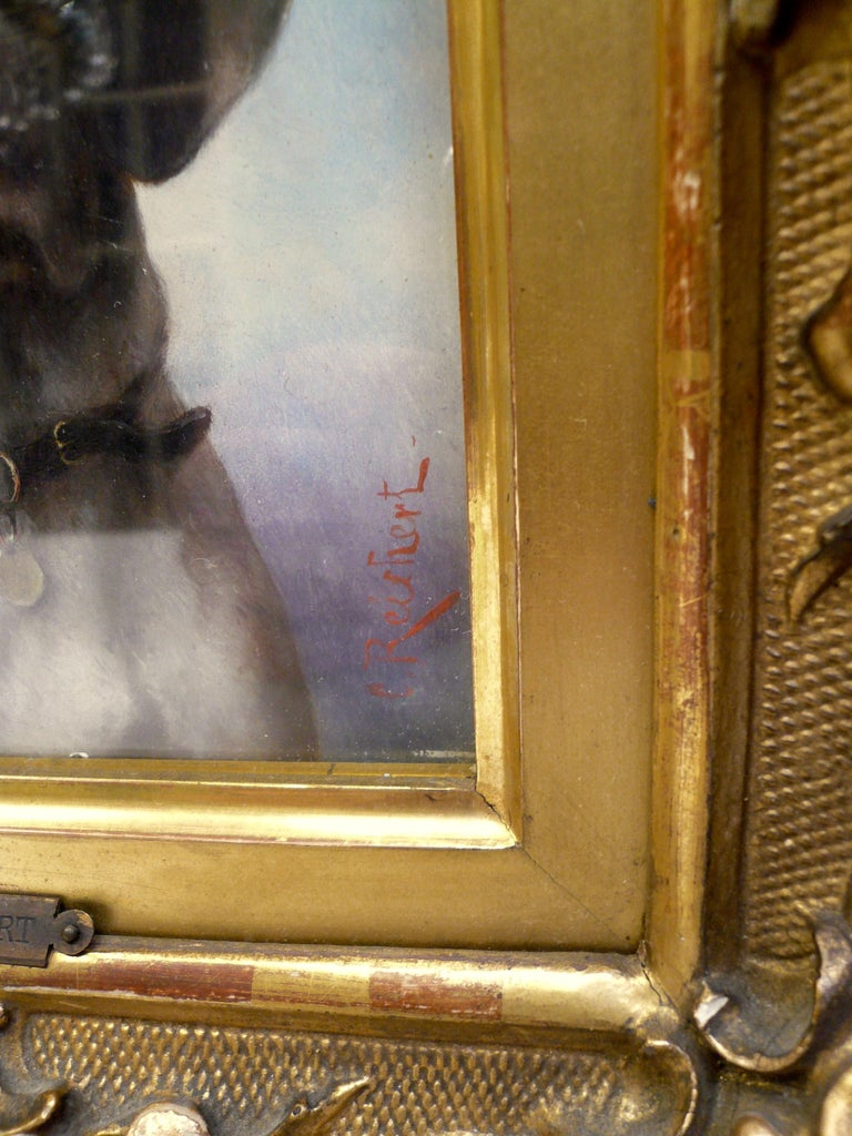 Austrian Dog Portrait, Oil on Panel by Carl Reichert of a German Shorthaired Pointer For Sale