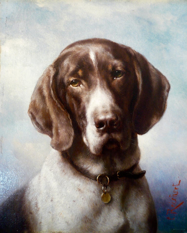 Hand-Painted Dog Portrait, Oil on Panel by Carl Reichert of a German Shorthaired Pointer For Sale