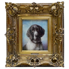 Dog Portrait, Oil on Panel by Carl Reichert of a German Shorthaired Pointer