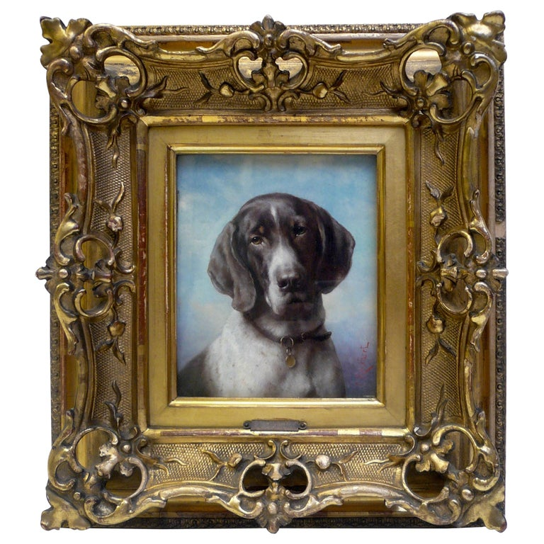 Dog Portrait, Oil on Panel by Carl Reichert of a German Shorthaired Pointer For Sale