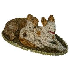 Folk Art Dog Sculpture Made from Sea Shells