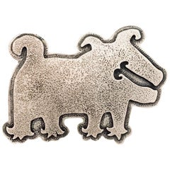 Dog with Funky Feet, sterling silver pin pendant Melanie Yazzie Navajo new