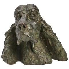 Dog's Head Bronze Sculpture, France 1887
