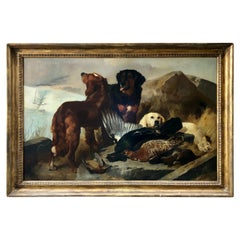 """""""Dogs with Bird Kill' by George Horlor Oil on Canvas Signed 1856"""