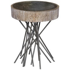 Doheny Round Accent Table I in Aged Silver Leaf by Badgley Mischka Home