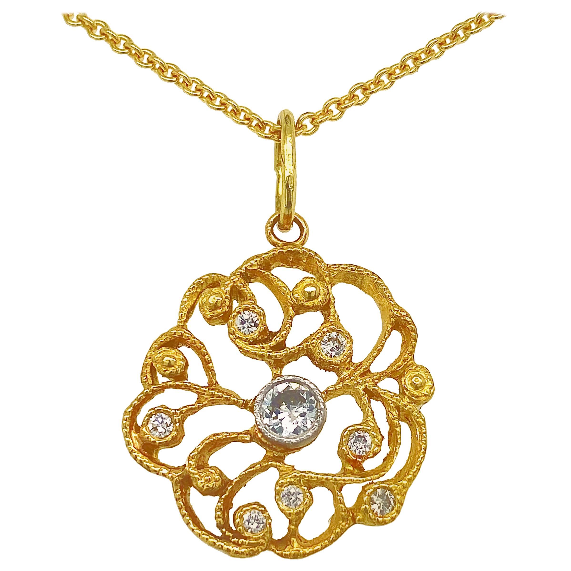 """Doily"" Diamond Rondelle Pendant on Chain, All in 18 Karat Gold"