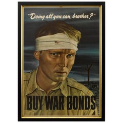 """Doing All You Can, Brother?"" World War II VIntage Patriotic Poster, circa 1943"