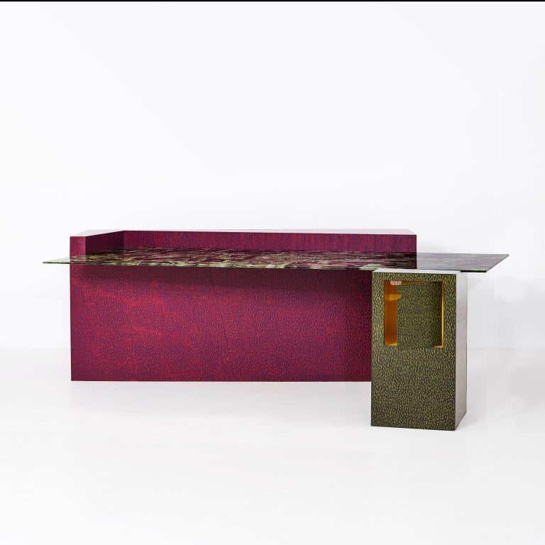 South African Dokter and Misses, 'Forty Percent Chance', Steel and Glass Desk For Sale