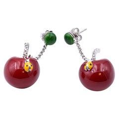 Dol Lago 18 Karat White Gold and Sterling Silver Enamel Cherry Earrings