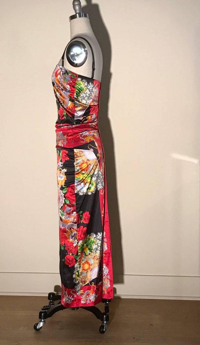 Pink Dolce & Gabbana Museum Piece Asian Inspired Dragon Fan Print Dress, 1990s   For Sale