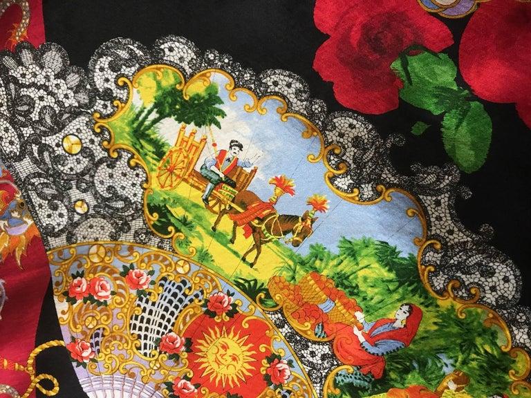 Women's Dolce & Gabbana Museum Piece Asian Inspired Dragon Fan Print Dress, 1990s   For Sale