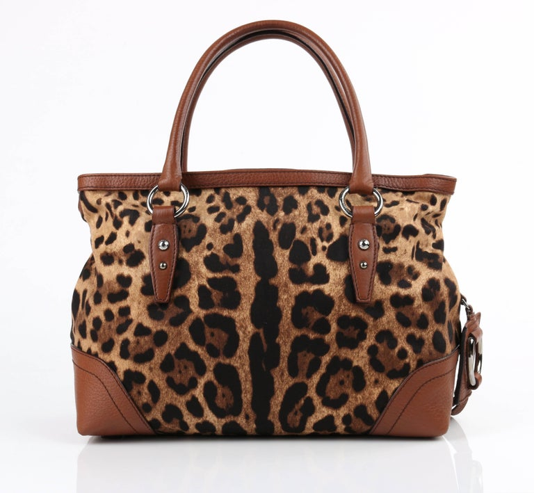 d6a2578bc30 DOLCE   GABBANA Animalier Leopard Animal Print Canvas   Brown Leather  Satchel In Excellent Condition For
