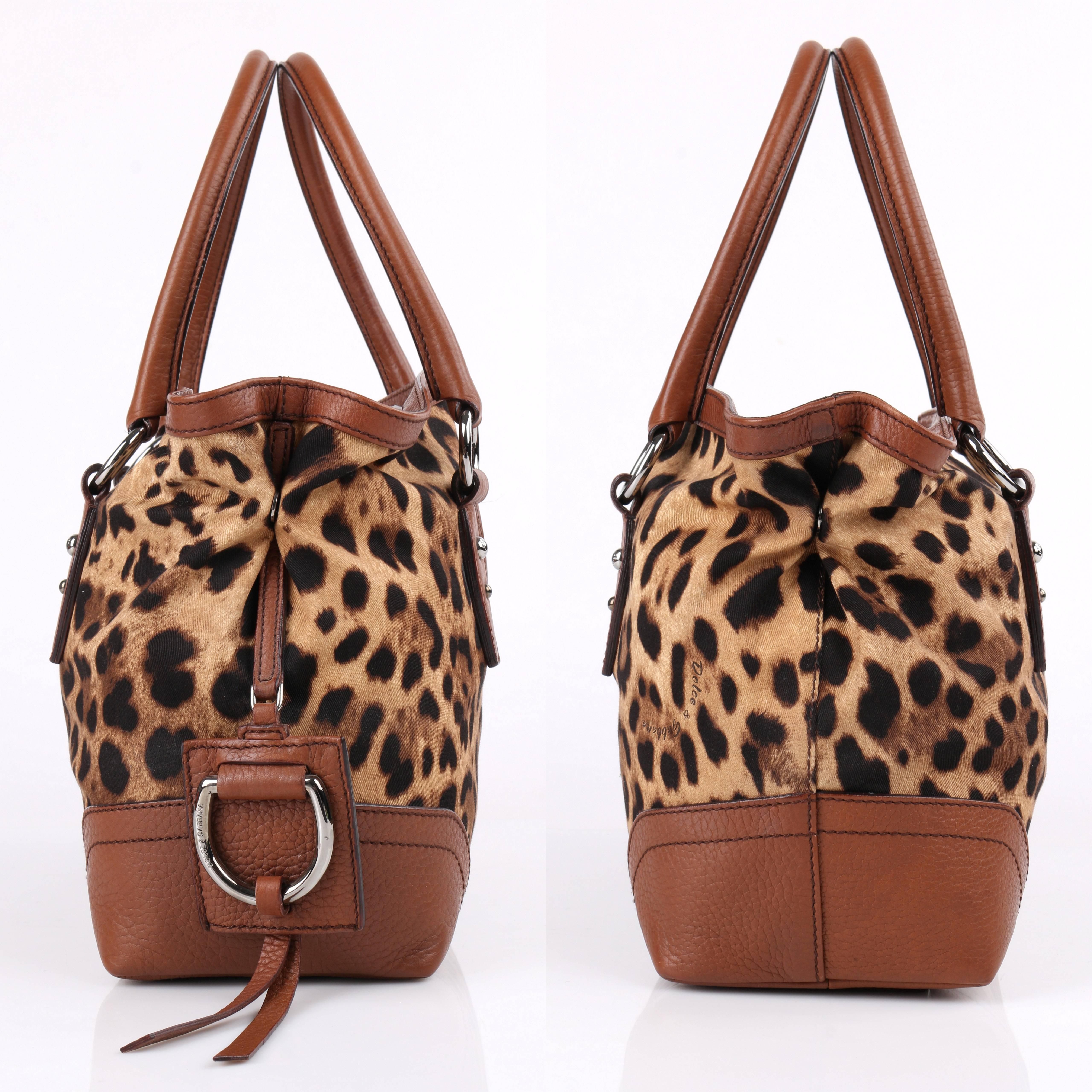 Dolce & Gabbana Animalier Leopard Animal Print Canvas & Brown Leather Satchel aJPvnN