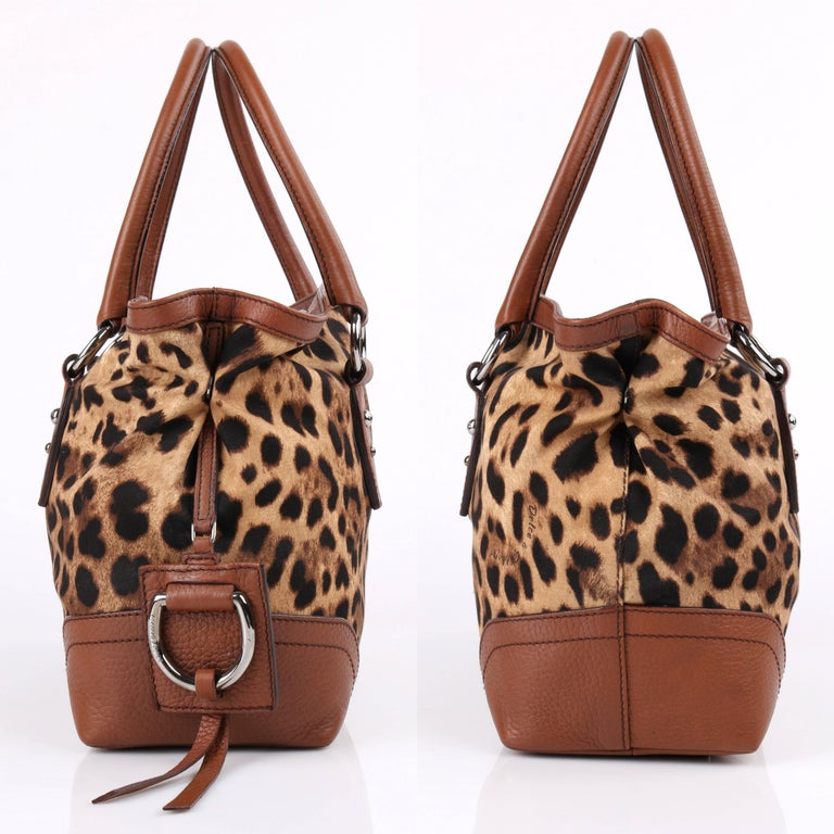 0bceb6feb43 Women s DOLCE   GABBANA Animalier Leopard Animal Print Canvas   Brown  Leather Satchel For Sale