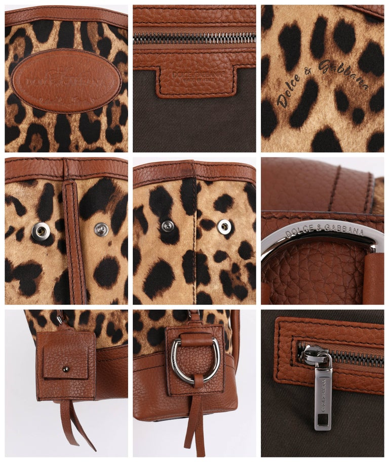 eb739f799d5 DOLCE   GABBANA Animalier Leopard Animal Print Canvas   Brown Leather  Satchel For Sale 2