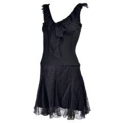 Dolce & Gabbana Black Lace 2 pc Dress With Corset Style Top and Lace Skirt