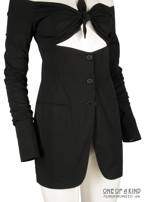 Dolce & Gabbana black lycra spandex blazer mini dress with bikini bust, ss 1992 In Good Condition For Sale In London, GB