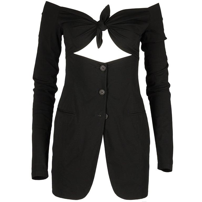 Dolce & Gabbana black lycra spandex blazer mini dress with bikini bust, ss 1992 For Sale