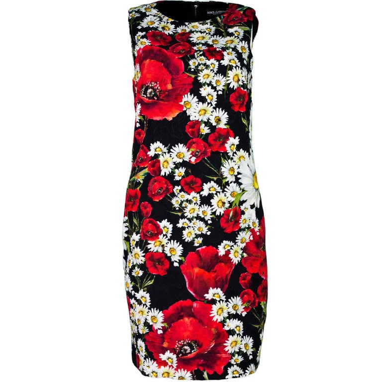 Dolce & Gabbana Spring 2016 Black Poppy and Daisy Dress