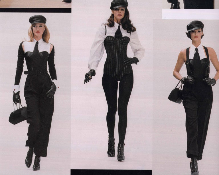Dolce & Gabbana black satin and lycra corset with attached white shirt, aw 1992 In Good Condition For Sale In London, GB