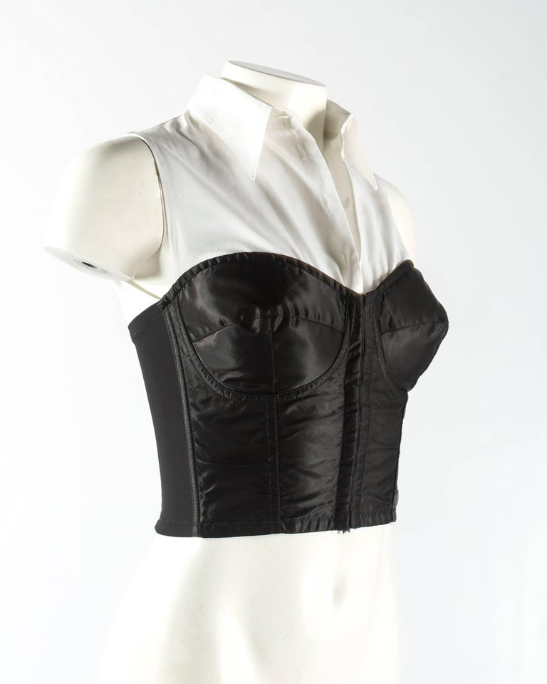 Women's Dolce & Gabbana black satin and lycra corset with attached white shirt, aw 1992 For Sale