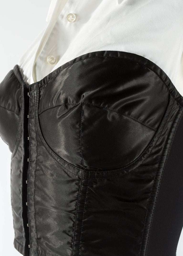Dolce & Gabbana black satin and lycra corset with attached white shirt, aw 1992 For Sale 1