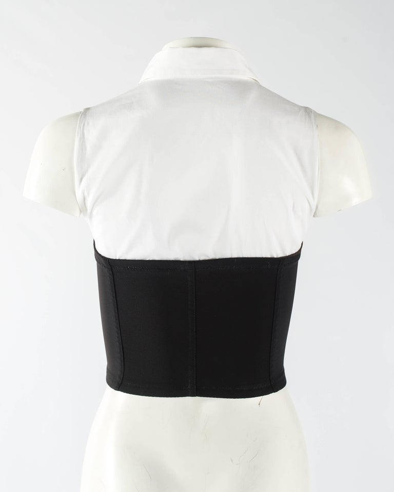 Dolce & Gabbana black satin and lycra corset with attached white shirt, aw 1992 For Sale 2