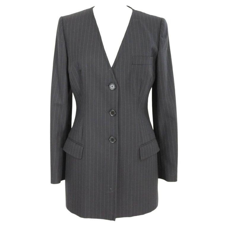 Dolce & Gabbana Black Wool Pinstripe V-Neck Italian Jacket, 1990s