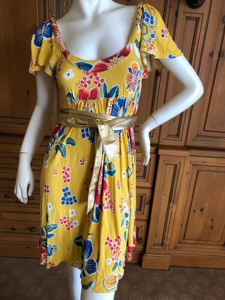 Dolce   Gabbana D G Vintage Floral Pattern Cocktail Dress Gold Chains and  Belt For Sale 2 0261362ff8