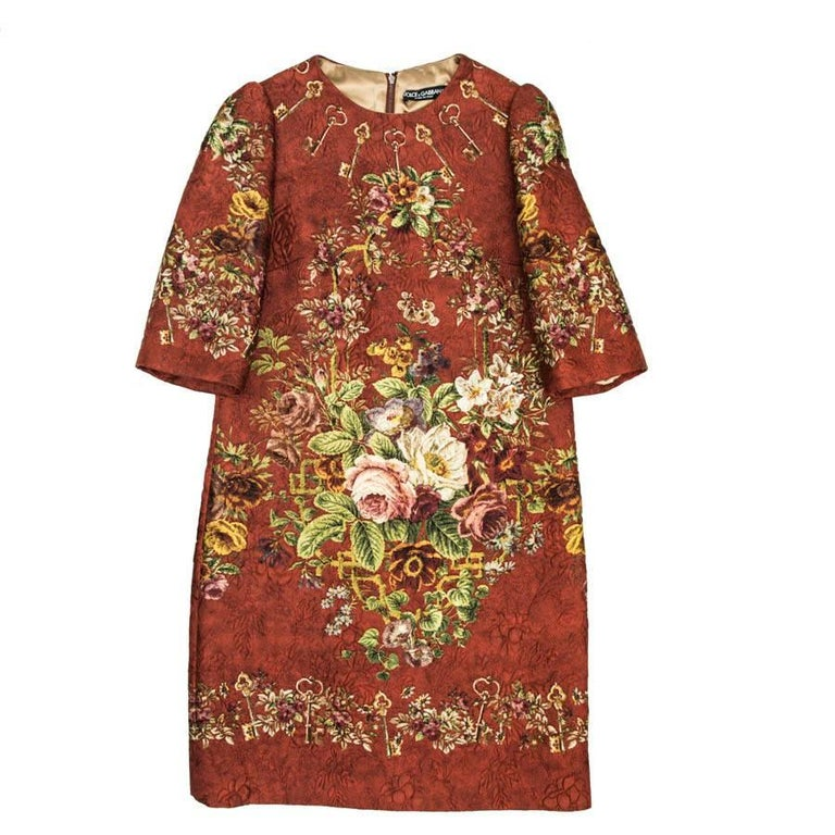 DOLCE & GABBANA Dress in Floral Printed Embossed Polyester Size 36FR