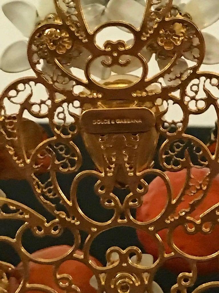 Dolce And Gabbana Gold Lattice Orange Flower Diadem Tiara