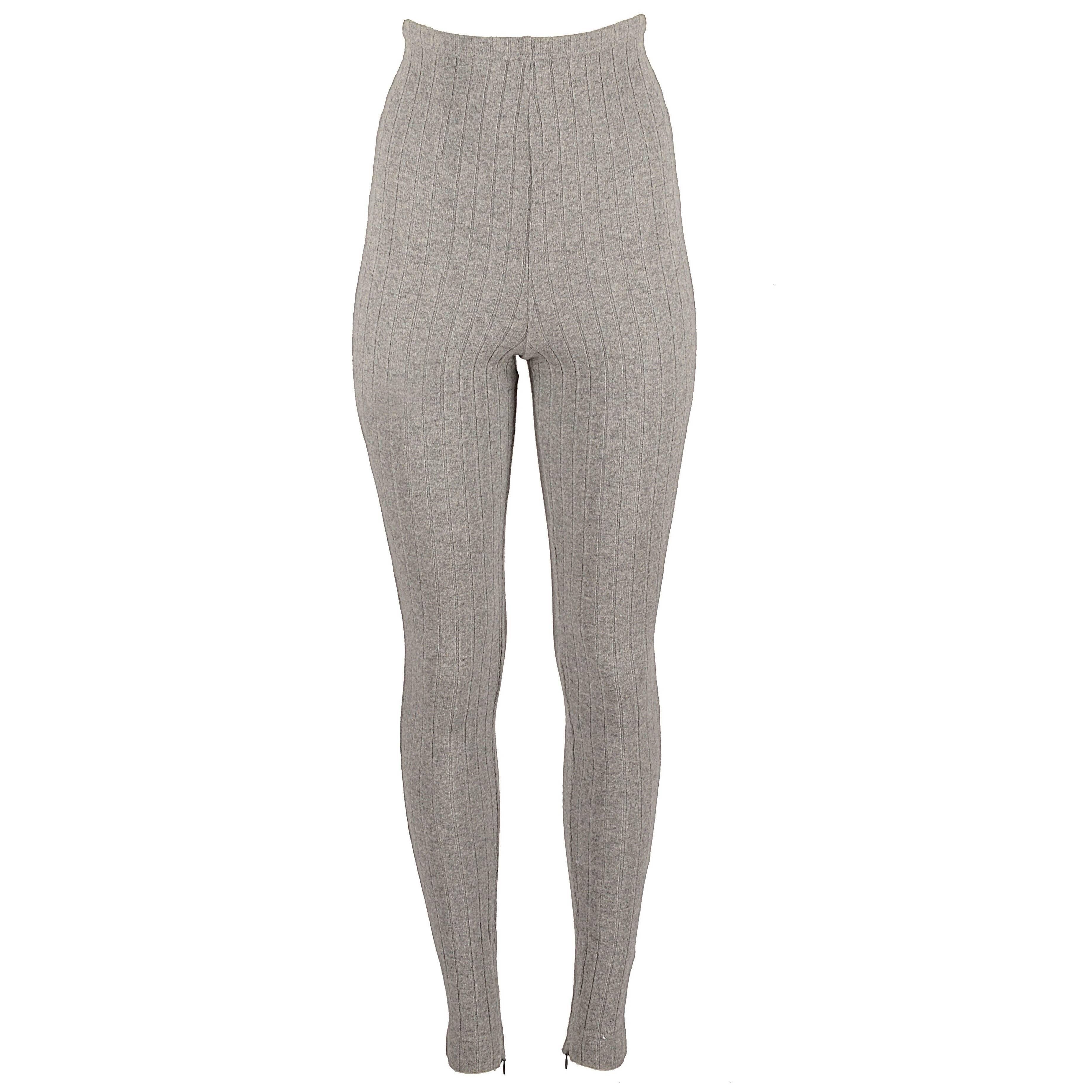Dolce & Gabbana grey wool ribbed knit high waisted leggings