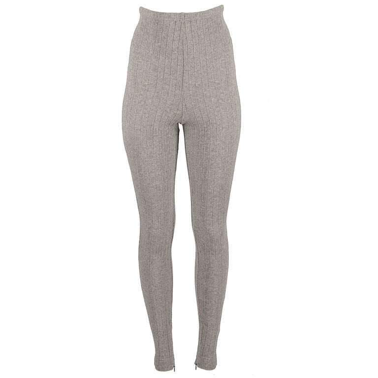 Dolce & Gabbana grey wool ribbed knit high waisted leggings  For Sale